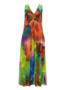 Raey - Neon Tie-dye Print Silk Dress - Womens - Multi