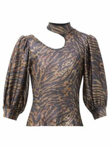 Ganni - Tiger-print Puff-sleeve Lurex-knit Top - Womens - Animal