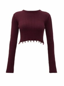 Staud - Beaded Cropped Cotton Sweater - Womens - Brown
