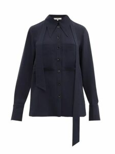 Tibi - Exaggerated-collar Neck-tie Blouse - Womens - Navy