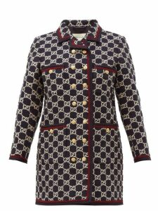 Gucci - Gg-monogram Tweed Single-breasted Coat - Womens - Navy Multi
