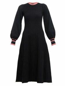 Roksanda - Mereza Blouson Sleeve Knitted Midi Dress - Womens - Black Navy