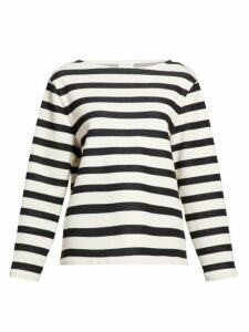 Saint Laurent - Boat Neck Striped Wool Sweater - Womens - White Black