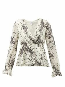 Giambattista Valli - Square-print Ruffled Silk Blouse - Womens - Ivory Multi