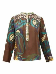 La Prestic Ouiston - Romee Floral-print Silk-twill Blouse - Womens - Brown Multi
