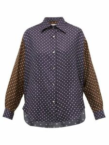 La Prestic Ouiston - Varenne Polka-dot Print Silk Shirt - Womens - Navy Multi