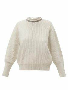 Brunello Cucinelli - Embellished V-back Ribbed Cashmere Sweater - Womens - Ivory