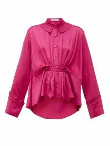 Palmer//harding - Rise Belted Satin Shirt - Womens - Pink