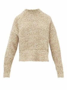 Jil Sander - Cropped Wool Blend Sweater - Womens - Beige White