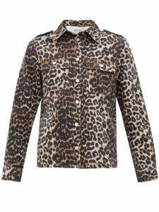 Ganni - Leopard-print Cotton-denim Shirt - Womens - Leopard