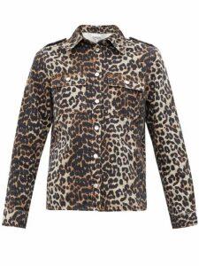Ganni - Leopard Print Cotton Denim Shirt - Womens - Leopard