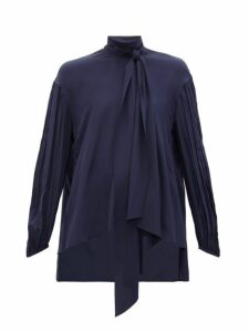 Chloé - Pussy Bow Silk Crepe Blouse - Womens - Navy
