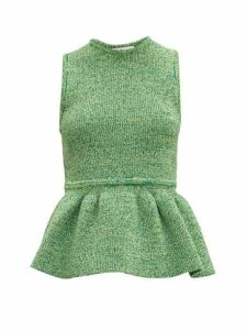 Tibi - Ribbed-knit Peplum Top - Womens - Green