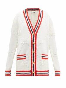 Gucci - Gg Logo Jacquard Wool Blend Cardigan - Womens - Ivory Multi