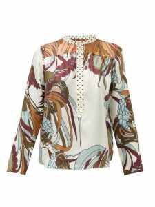 La Prestic Ouiston - Romee Floral-print Silk-twill Shirt - Womens - White Multi