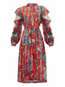 Golden Goose - Chieko Ruffled Floral-print Crepe De Chine Dress - Womens - Red Multi