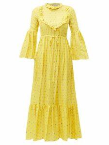 Preen By Thornton Bregazzi - Tessa Ruffled Floral-print Satin Dress - Womens - Yellow
