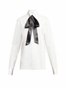 Alexandre Vauthier - Pussy-bow Cotton-poplin Blouse - Womens - White