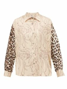 La Prestic Ouiston - Varenne Abstract & Leopard-print Silk-twill Shirt - Womens - Beige Multi