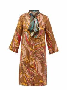 La Prestic Ouiston - Societe Printed Silk Twill Dress - Womens - Brown Multi
