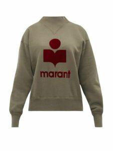 Isabel Marant Étoile - Moby Flocked Logo Jersey Sweatshirt - Womens - Khaki Multi