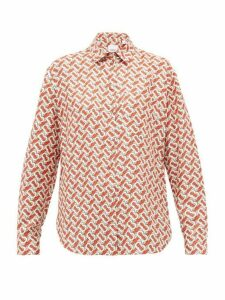 Burberry - Tb-print Silk-satin Shirt - Womens - Red Print
