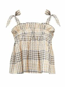 Ganni - Checked Seersucker Top - Womens - Cream Multi