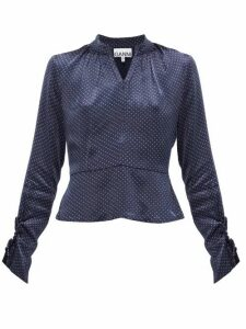 Ganni - Open-back Polka-dot Satin Blouse - Womens - Navy