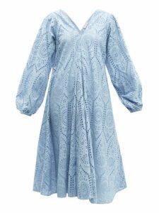 Ganni - Balloon-sleeved Broderie-anglaise Cotton Dress - Womens - Light Blue