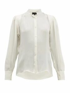 Nili Lotan - Lorena Quilted-panel Silk Blouse - Womens - Ivory