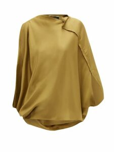 Roland Mouret - Hopkins Asymmetric Satin Blouse - Womens - Light Green