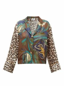 La Prestic Ouiston - Botanical & Leopard-print Silk-twill Blouse - Womens - Brown Multi