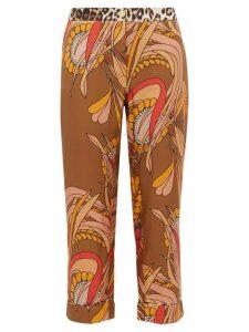 La Prestic Ouiston - Miami Floral-print Silk-satin Trousers - Womens - Brown Multi