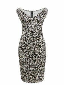 Norma Kamali - Tara Leopard Print Ruched Midi Dress - Womens - Leopard