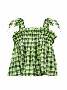 Ganni - Ruffled Checked Seersucker Cropped Top - Womens - Black Green