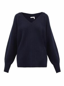 See By Chloé - V-neck Ribbed Wool-blend Sweater - Womens - Navy
