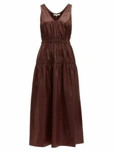Tibi - Liquid Drape Gathered-waist Dress - Womens - Burgundy