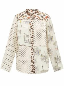 La Prestic Ouiston - Cottage Contrast-print Silk Shirt - Womens - White Multi