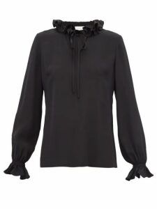 Goat - Irving Ruffled Tie-neck Silk Blouse - Womens - Black