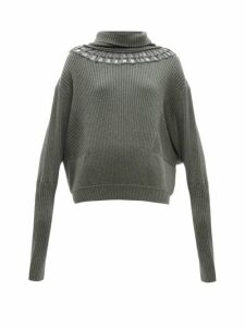 Palmer//harding - Cut-out Wool-blend Sweater - Womens - Khaki