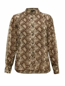 Nili Lotan - Lorena Snake-print Silk Blouse - Womens - Brown Multi