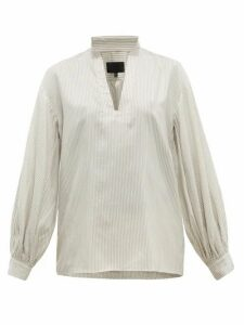 Nili Lotan - Joey Striped Silk Blouse - Womens - White Multi