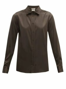 Bottega Veneta - Silk-blend Charmeuse Shirt - Womens - Dark Brown