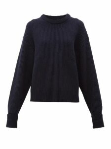 Chloé - Turn Up Cuff Ribbed Merino Wool Blend Sweater - Womens - Navy