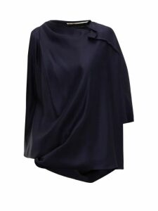 Roland Mouret - Hopkins Asymmetric Satin Blouse - Womens - Navy