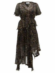 Preen By Thornton Bregazzi - Esther V-neck Leopard Print Devoré Dress - Womens - Leopard