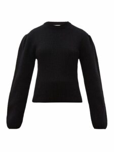Lemaire - Box-pleat Ribbed Wool Sweater - Womens - Black