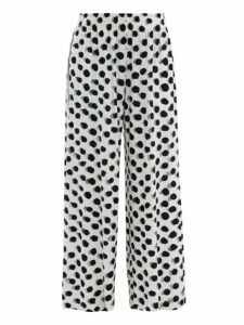 Norma Kamali - Polka Dot-print Side-striped Jersey Trousers - Womens - White Black