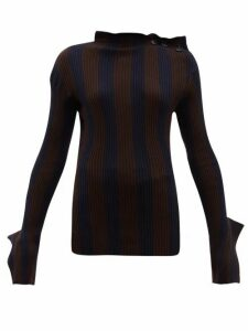 Palmer//harding - Shift Exaggerated-cuff Cotton-blend Sweater - Womens - Navy