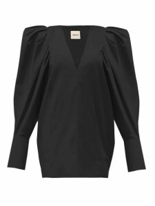 Khaite - Connie V-neck Puff-sleeve Cotton Blouse - Womens - Black